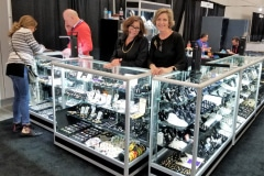 Christine and Cindy managing a trade show