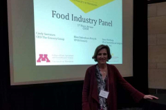 Cindy presenting at the University of MN Food Industry Panel